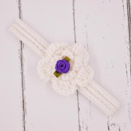 Crochet baby hairband Headband - Wh..