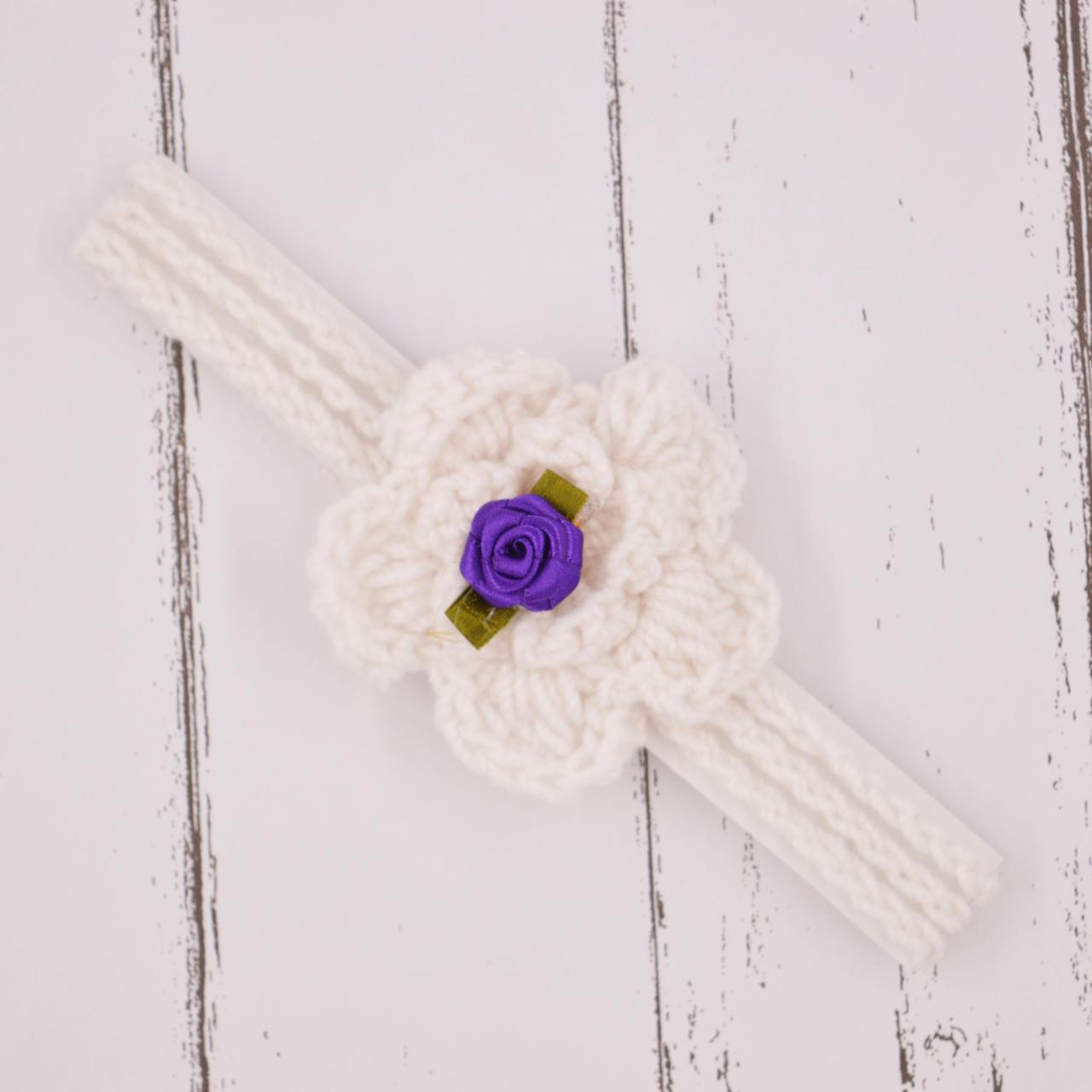 Crochet baby hairband Headband - White with purple flower applique