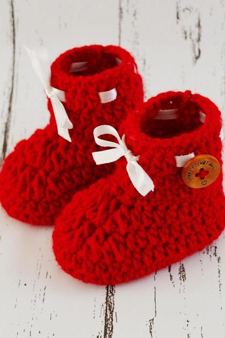 Crochet Baby Booties Woolen Booties, Newborn Infant Booties, Baptism Booties - Red
