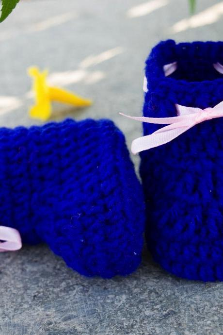 Crochet Baby Booties Woolen Booties, Newborn Infant Booties, Baptism Booties - Blue