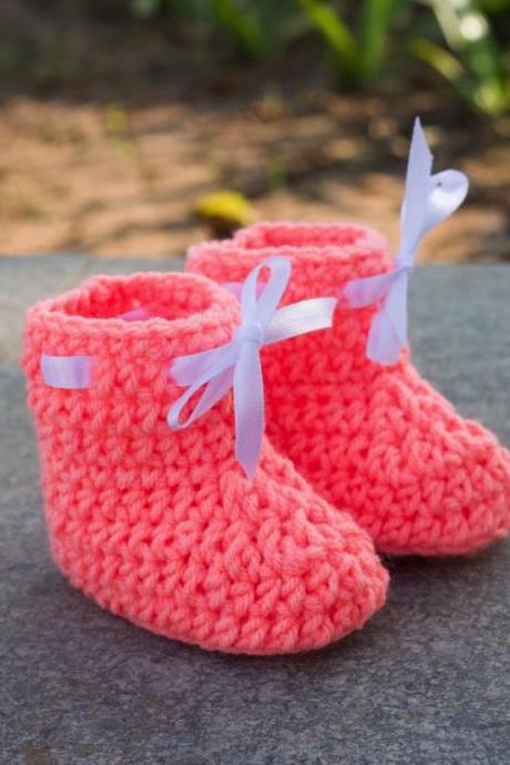Crochet Baby Booties Woolen Booties, Newborn Infant Booties, Baptism Booties - Peach