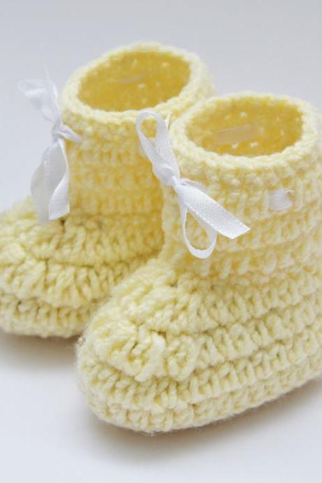 Crochet Baby Booties Woolen Booties, Newborn Infant Booties, Baptism Booties - Off White