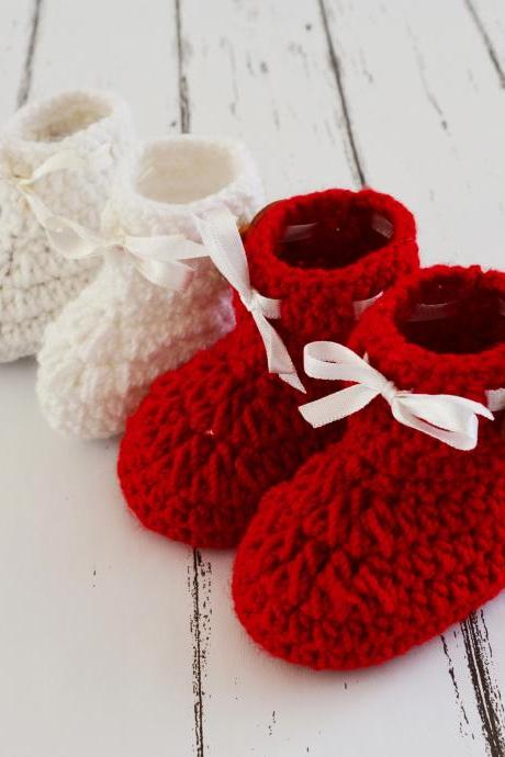 Combo of Red & White Crochet Baby Booties Woolen Booties, Newborn Infant Booties, Baptism Booties
