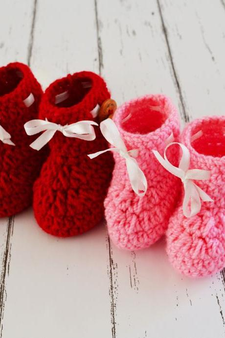 Combo of Red & Light Pink Crochet Baby Booties Woolen Booties, Newborn Infant Booties, Baptism Booties