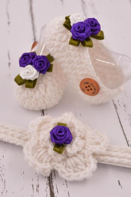 Crochet Booties and Headband combo