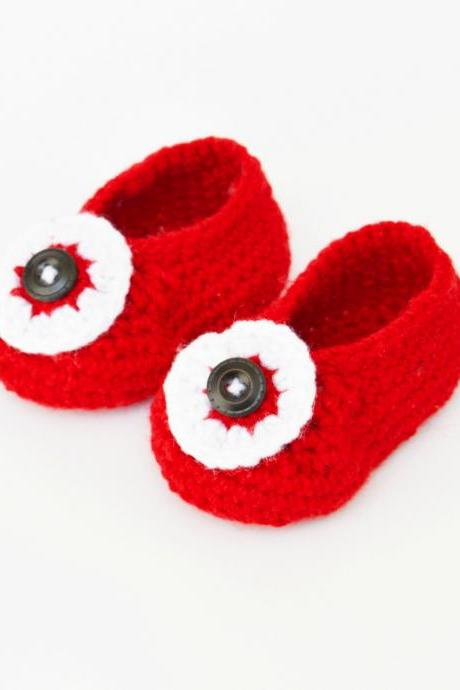 Crochet baby booties - Red