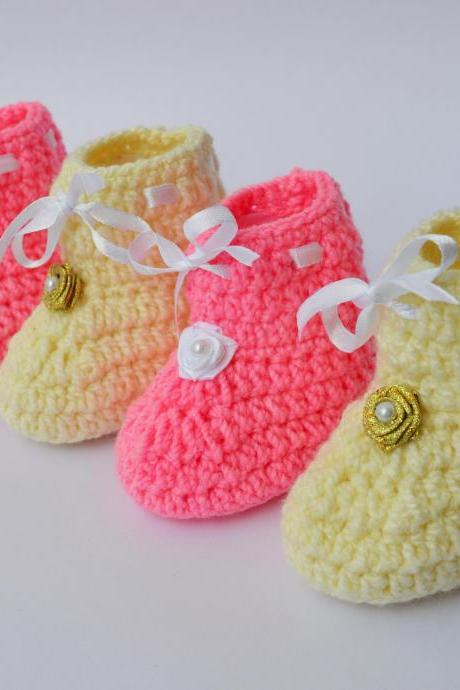 Combo of Cream and pink baby booties