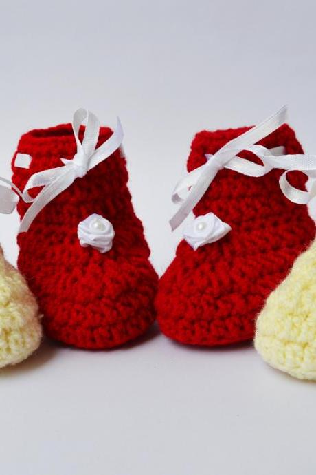 Combo of Cream and red baby booties