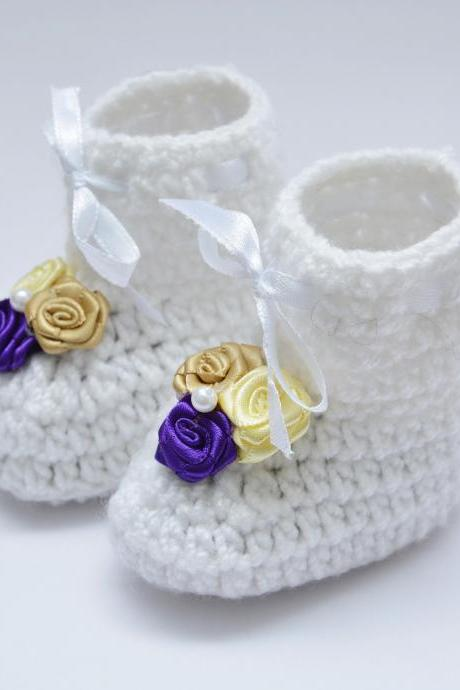 Crochet Baby Booties - White
