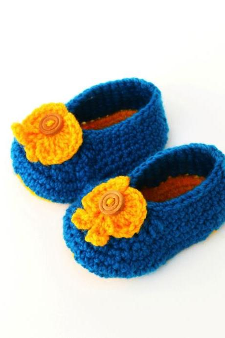 Crochet Baby Booties - Sky blue