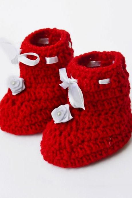 Crochet Baby Booties - Red with flower