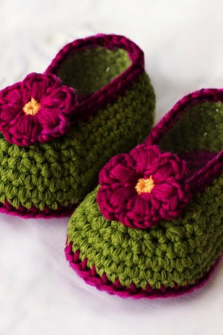 Crochet Baby Booties - Green