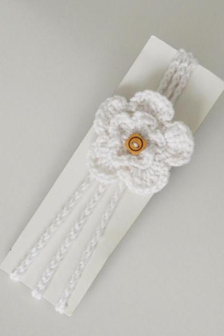 Crochet flower Baby Hair Band / Head Band for girl - White