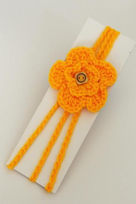 Crochet flower Baby Hair Band / Head Band for girl - Yellow