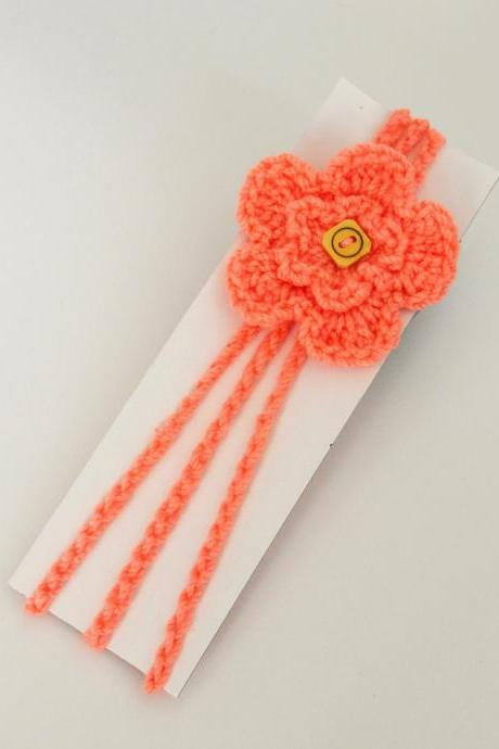 Crochet flower Baby Hair Band / Head Band for girl - Peach