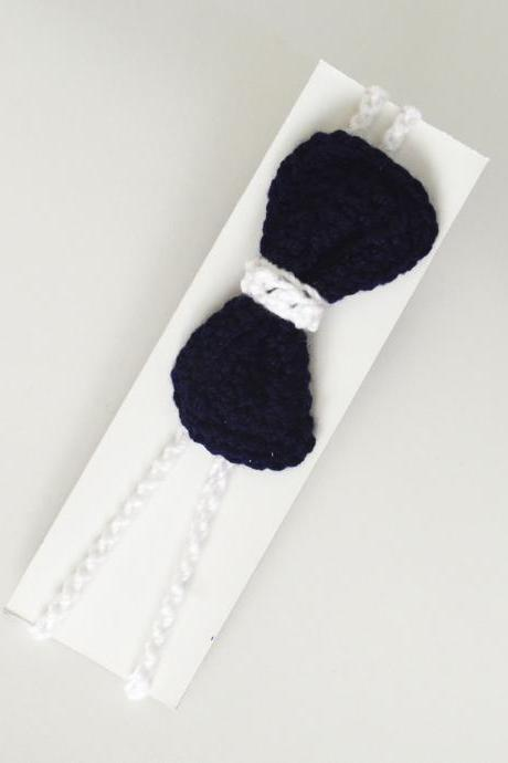 Crochet flower Baby Hair Band / Head Band for girl - Blue Bow