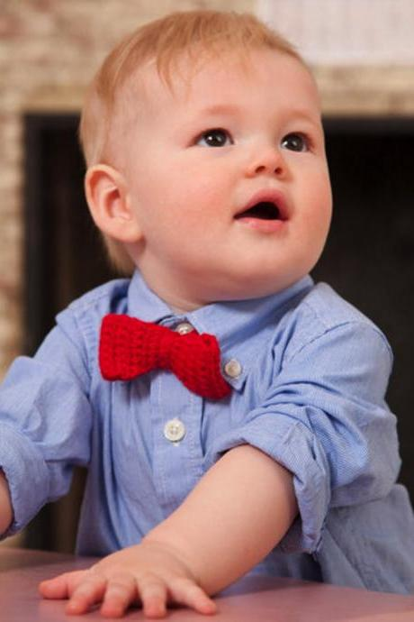Crochet baby bow tie for little man
