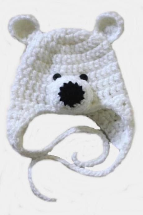 LOVE CROCHET ART Polar Bear Crochet Cap