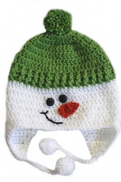 LOVE CROCHET ART Snow Man Cap Crochet cap