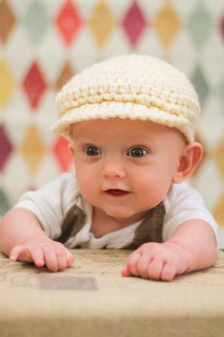 Crochet Baby Cap Winter Cap Knitted Cap Crochet Beanie for Baby Boy Photography Prop