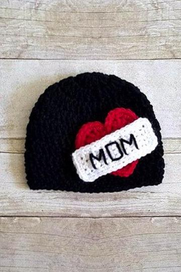 Winter Warm Knitted Hats Girl/Boy I Love MOM Baby Cap Photography Prop