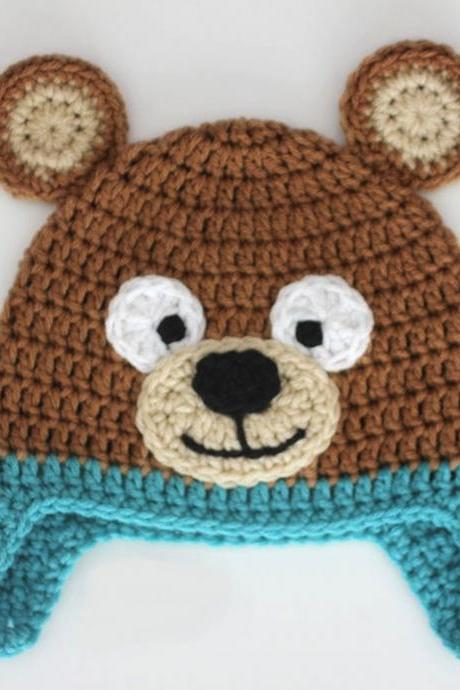 Crochet bear baby cap beanie - Brown and Blue