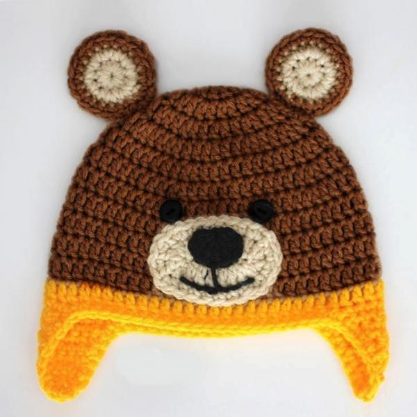 Crochet bear baby cap beanie.- Brown and Yellow